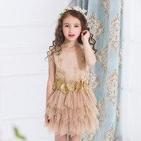 New Wedding Girls Dress Summer Mesh Girls Clothes Gold Floral Princess Dress Children Sleeveless Clothes Kids Girls Yarn Dress