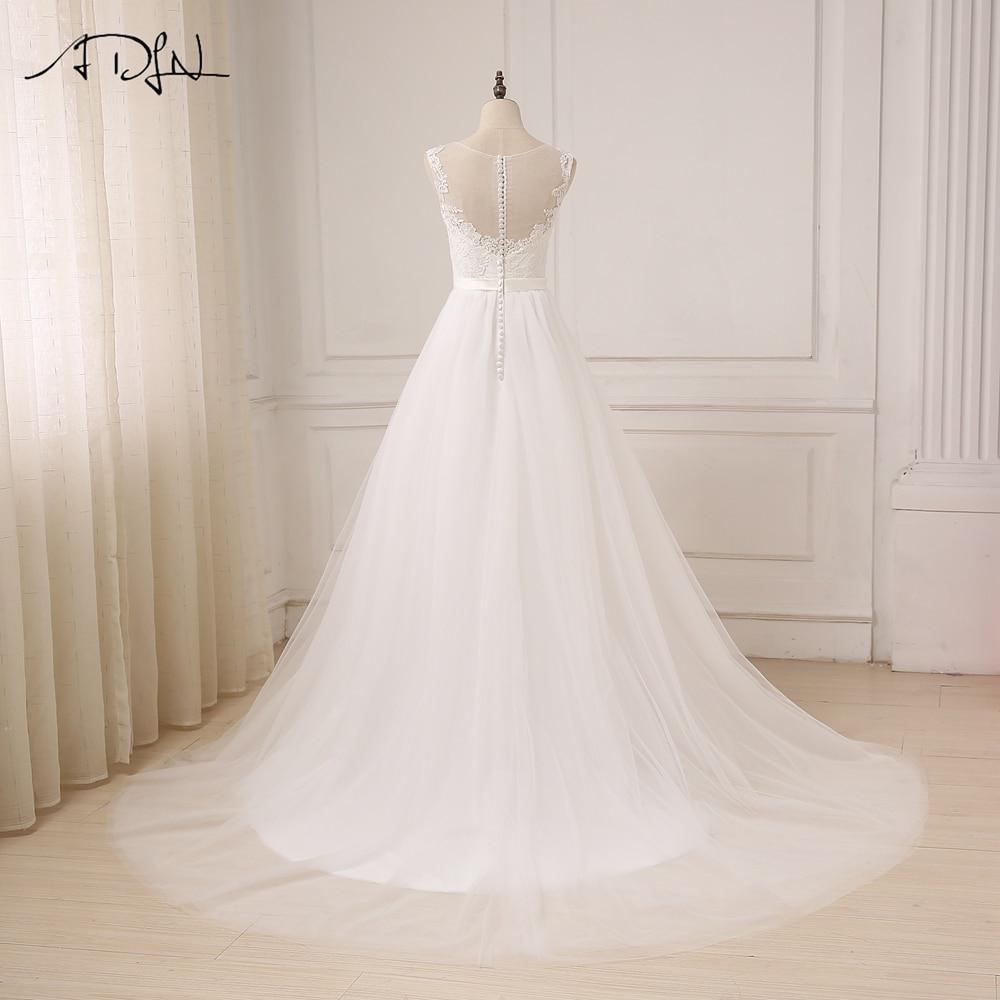ADLN Ny Ankomst Billiga Bröllopsklänningar O-Neck Lace Tulle Boho - Bröllopsklänningar - Foto 2