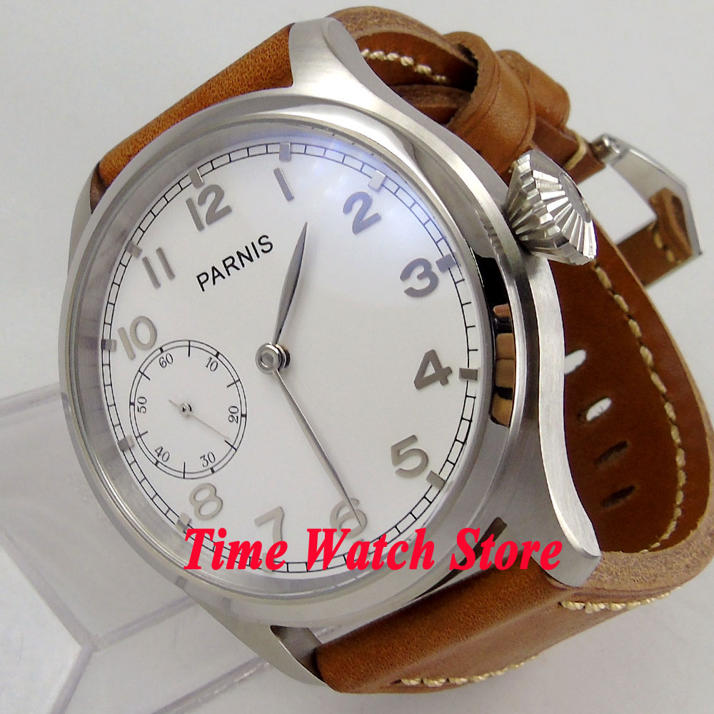 Parnis watch 47mm mechanical men's watch big crown white dial 17 jewels ST3600 6497 hand winding movement wrist watch men 89 цена и фото