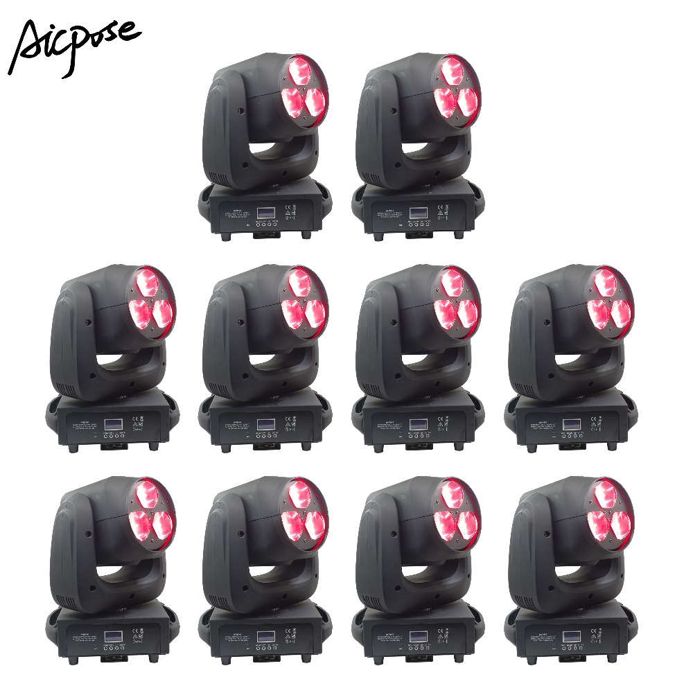 10pcs/lots 3x40W Beam Light RGBW 4in1 LED Bee Eyes Zoom Moving Head Lights For Wedding Disco Bar Light Stage Lighting