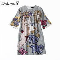 Delocah Summer Fashion Designer Dress Runway Women's Sleeveless Gorgeous Sleeveless Diamonds Letter Angel Printed Vintage Dress