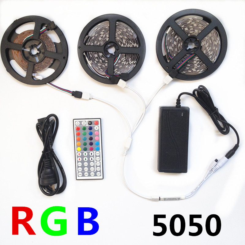 5050 RGB led strip light 5M 10M 15M 30led M SMD Stripe diode tape 44 key