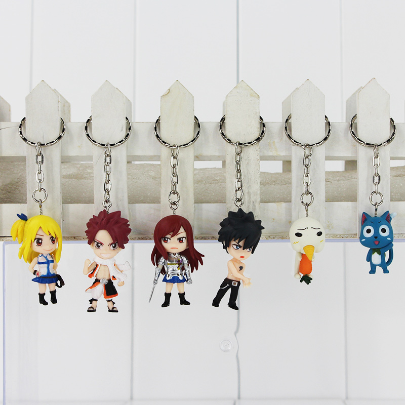 6pcs lot Anime Fairy Tail Figure font b Toys b font Natsu Dragneel Lucy Gray Erza