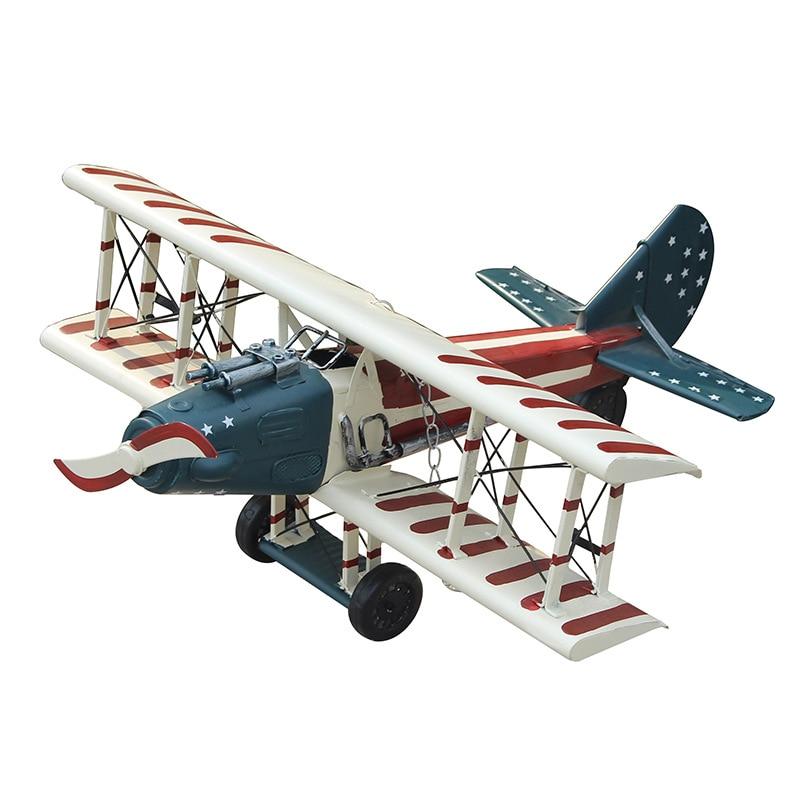 Retro Iron Biplane Model Vintage Aircraft Model Photography Props Antique Ornaments Airplane Figurines Handmade Metal Plane