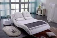 White Diamond Tufted Contemporary Modern Leather Soft Bed King Size Bedroom Furniture Made In China
