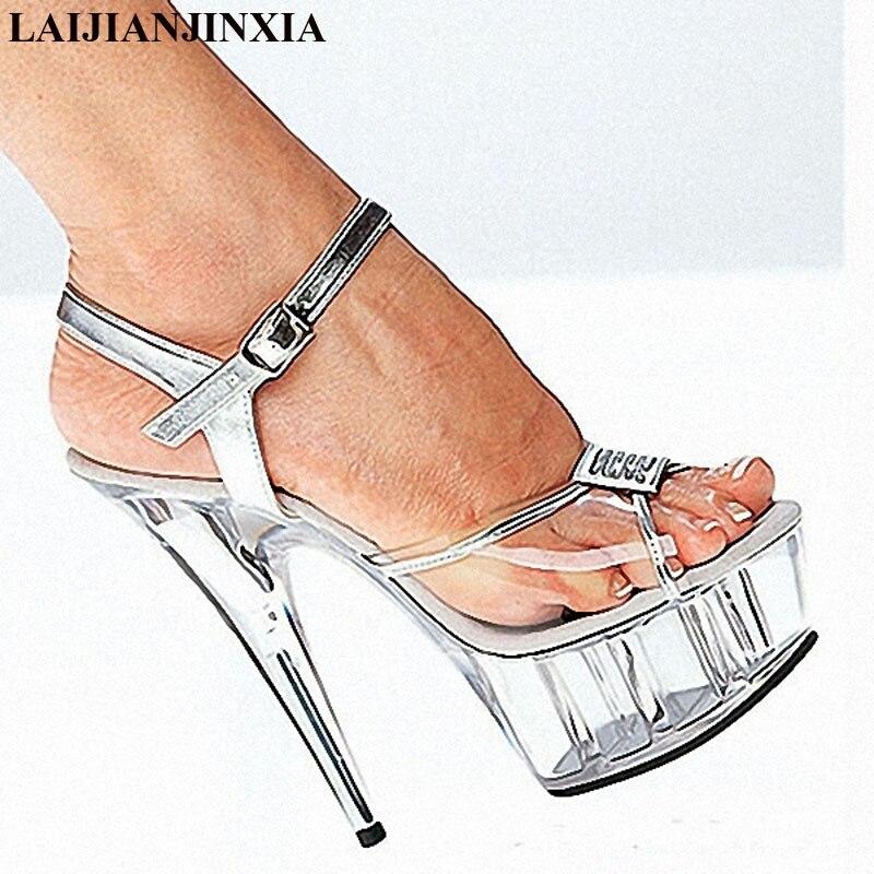LAIJIANJINXIA New Women Pumps Women Shoes 15cm High Heels Sandals Shoes Fashion Sexy Party Wedding Shoes Woman High Heels 2017 han edition of the new fashion women s shoes big yards high heels crystal cool slippers 15cm