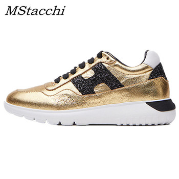 MStacchi Women Cow Leather Sequins Sneakers Ladies Casual Lace-Up Height Increasing Shoes Woman Mixed Color Chunky Heel Sneakers