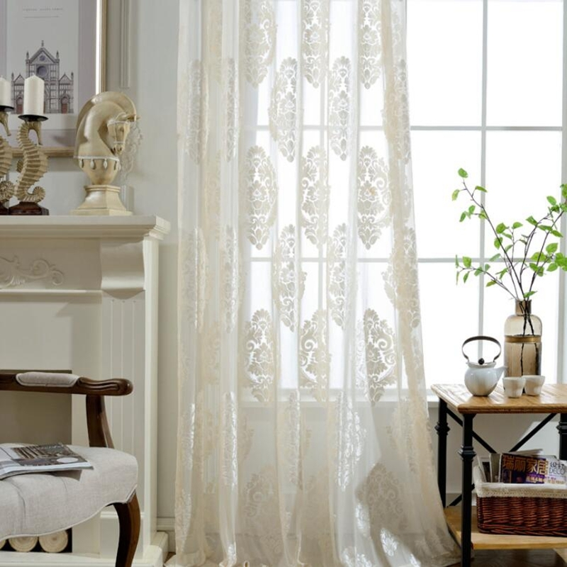 European Classic Flocking Screens Beige White Semi-shading Tulle Window Treatments Sheer Panels Curtain For Living Room 011&30