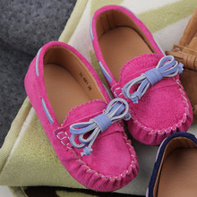 2016 Children Toddler Kids Girl Loafers Nubuck Sneakers for girls Genuine Leather boys girls Casual Shoes bowtie Sneakers
