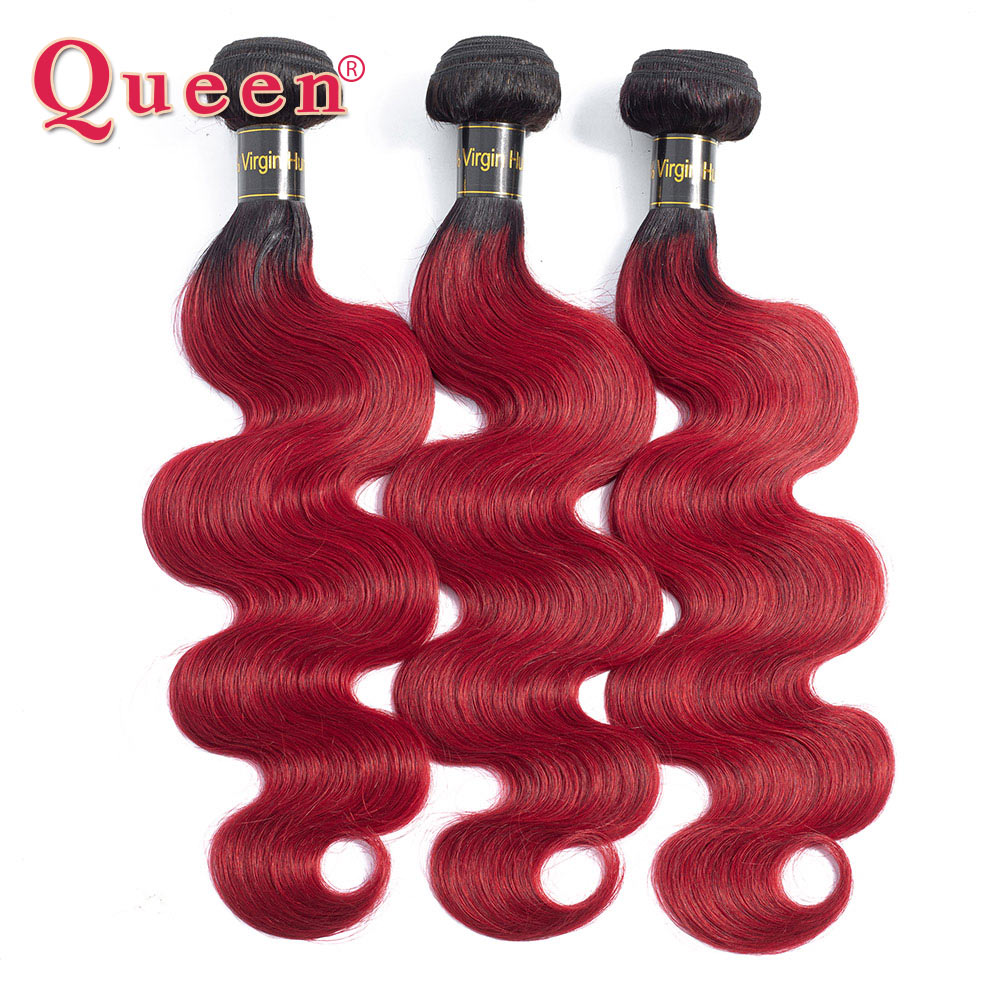 Queen Hair Products Brazilian Hair Bundles Body Wave Hair 1/3/4 Bundles Ombre 1B/Wine Red Two Tone Human Hair Weave Extensions