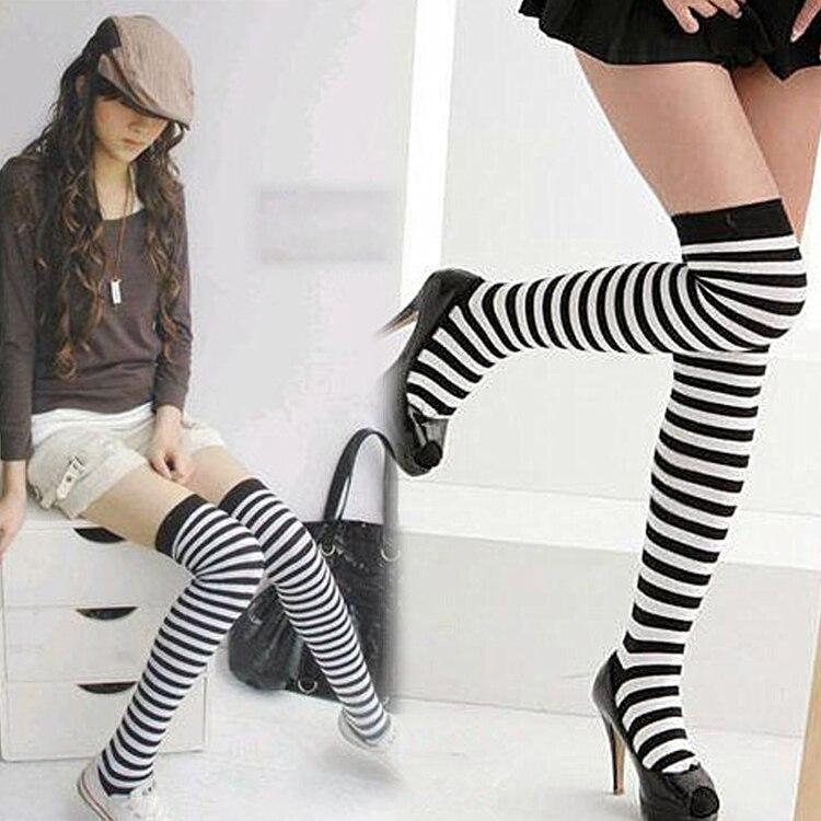 c53106f22 Fashion New Autumn Style Hot Sales Classic Black And White Stripe Socks  Zebra Print Women Knee-high Socks