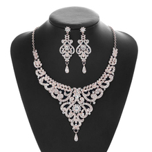 New Trendy Bridal Jewelry Sets For Women Temperament Necklace Drop Earring Set Wedding jewellery Dinner Accessories Jewelry Sets недорого