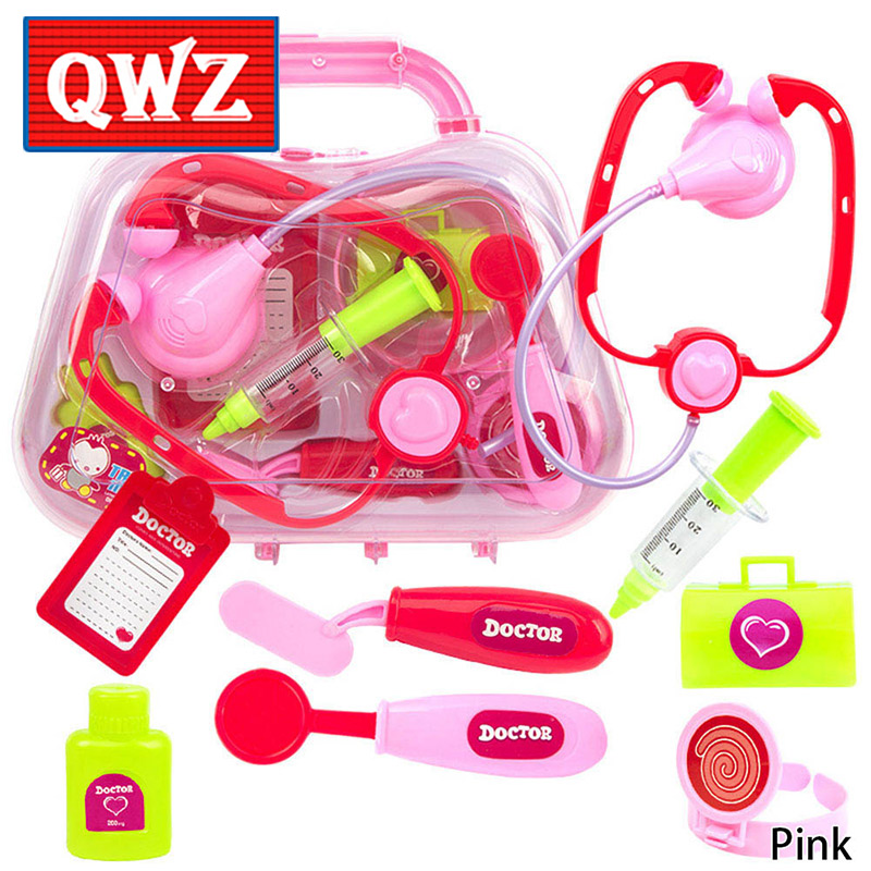 QWZ 8pcs/Set Child Medical Doctor Toys for Kids Role Play Pretend Play Set Classic Toys Childrens Simulation Medicine Cabinet