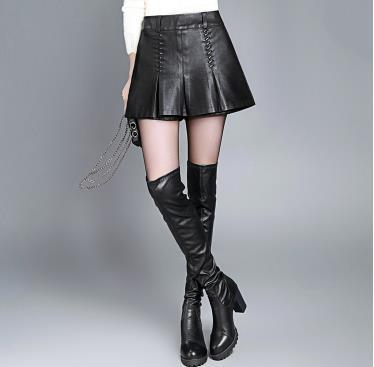 Corea Plisada Pierna El Gran Llevar Cuero Falda Invierno Del Yardas Black Nuevo La Femenino qq17t