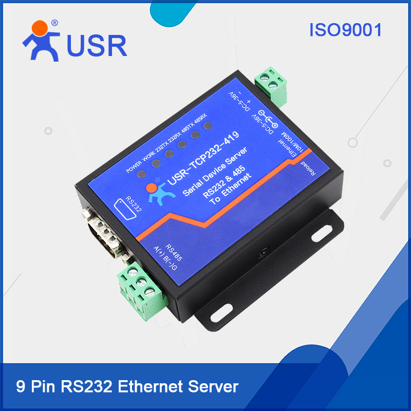 USR-TCP232-419 9 Pin RS232 Serial RS485 Ethernet Server DTR DSR fast free ship gprs dtu serial port turn gsm232 485 485 interface sms passthrough base station positioning usr gprs 730