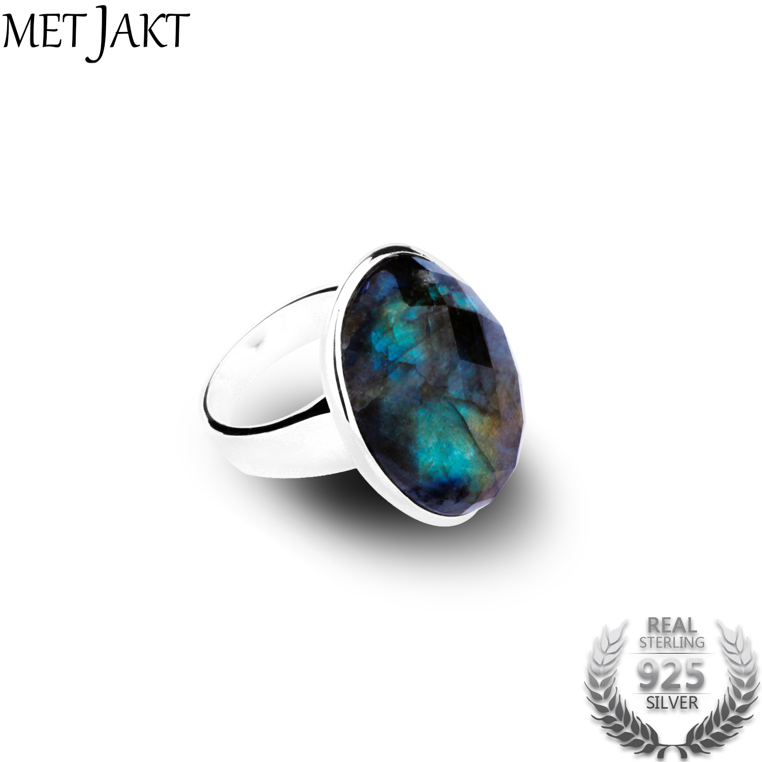 MetJakt Genuine Natural Oval 21.52ct Labradorite Ring 925 Sterling Silver Rings for Lady Fine Jewelry