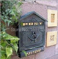 Dark Green Large Cast Iron Wall Mailbox With Newspaper Zeitung Holder Cast Aluminum Wall Mount Mailbox