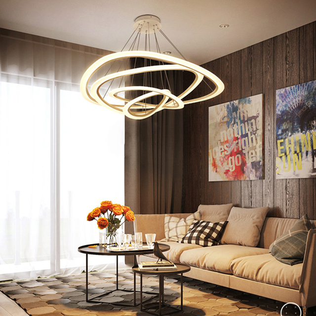 Modern Led pendant lights for living room dining room 4/3/2/1 Circle Rings acrylic body LED Pendant Lamp fixtures