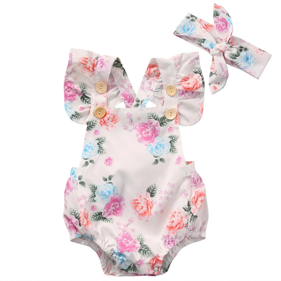 NOVINKY Příchody Baby Girls Flowers Print Bodysuit + Čelenka Letní oblečení 2ks Set