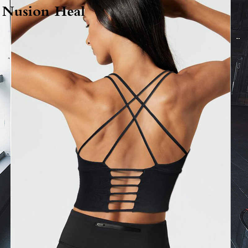 Women Energy Crop Vest Shockproof Breathable Gym Fitnes Sports Bra for Fitness Yoga Running Pad Cropped Top SportsWear Tank Tops