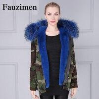 fashion women camouflage blue parka faux fur lining winter jacket coat natural raccoon fur collar hooded short parkas outwear