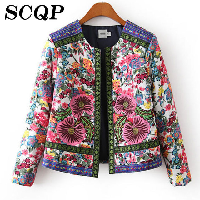 Inverno Impresso Magro Mulheres Outwear New Casual Bolsos Abrir Ponto Jacket Mulher 2016 Outono Completa-o pescoço Moda Chaquetas Mujer