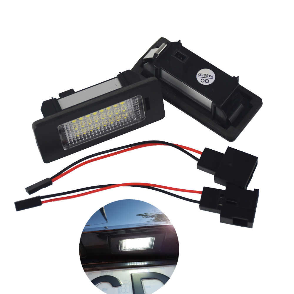 2Pcs LED License Plate Light 6000K 24leds For VW Passat B5 For Golf GTI MK5 MK6 MK7 For VW polo For Audi A4 A5 Q5 TT turbo k03 53039700029 53039880029 058145703j n058145703c for audi a4 a6 vw passat variant 1 8t amg awm atw aug bfb apu aeb 1 8l