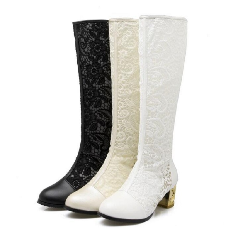 2018 Spring Singles Boot Knee High Boots Thick Heels Zipper Sexy Cutout Mesh Cool Boots For Women Black White Beige BIg Size 43