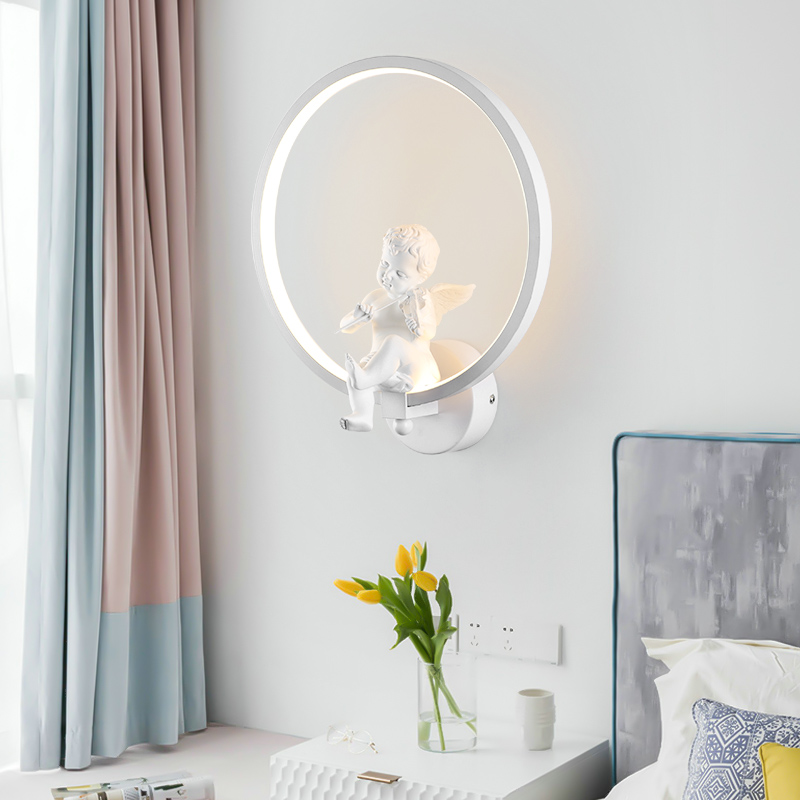 white/Black Acrylic Creative Modern Led Wall Light Angel child bedroom bedside LED Sconce Bathroom Wall Lamp Lustreswhite/Black Acrylic Creative Modern Led Wall Light Angel child bedroom bedside LED Sconce Bathroom Wall Lamp Lustres