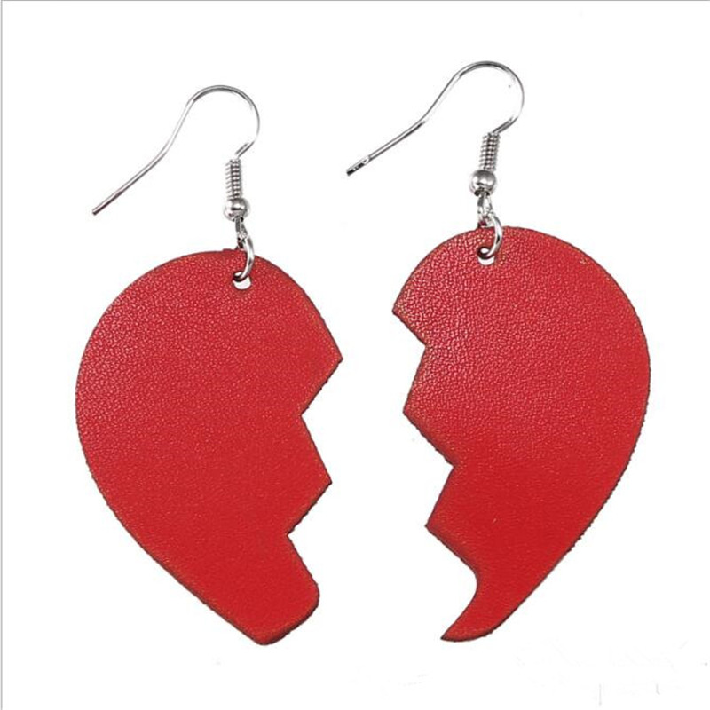 2019 Fashion Leather Drop Earrings For Women Trendy Heart Pu Leather Earrings Fashion Statement Jewelry Party Gifts Wholesale in Drop Earrings from Jewelry Accessories