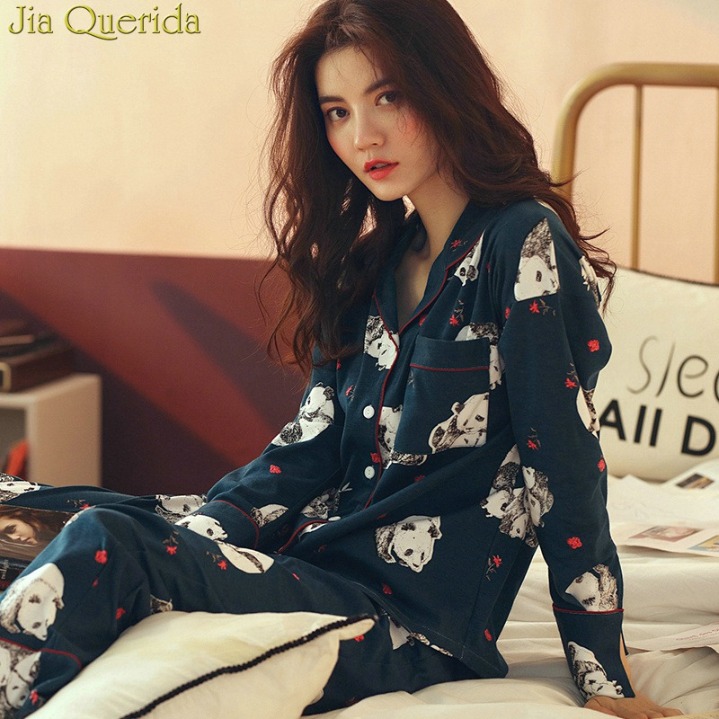 J&Q Cotton   Pajamas   New Arrival 2019 Spring Fashion Women Home Clothing Panda Print Cardigan Top & Drawstring Bottoms   Pajamas     Set