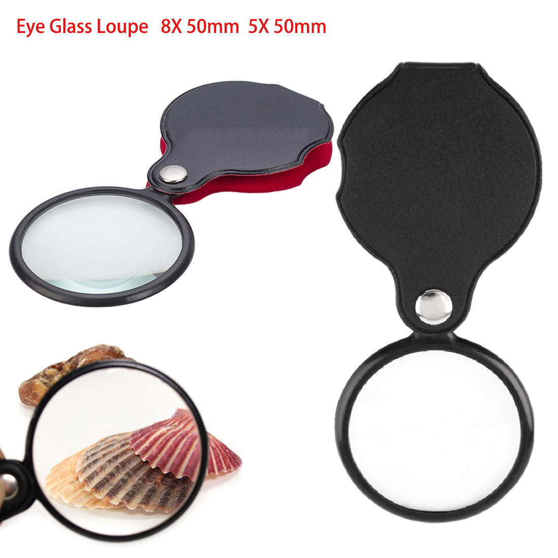 Mini Pocket 8X 50mm 5X 50mm Folding Jewelry Magnifier Magnifying Eye Glass Loupe Lens
