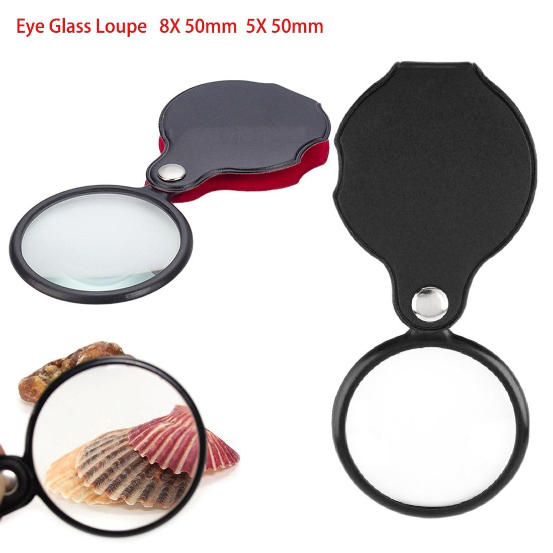 Mini Pocket 8X 50mm 5X 50mm Folding Jewelry Magnifier Magnifying Eye Glass Loupe Lens