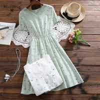 Robe Femme 2019 Summer Women Fashion Literature Short Sleeve V-neck Cotton Linen Floral Printed Dress Vintage Vestidos Mori Girl