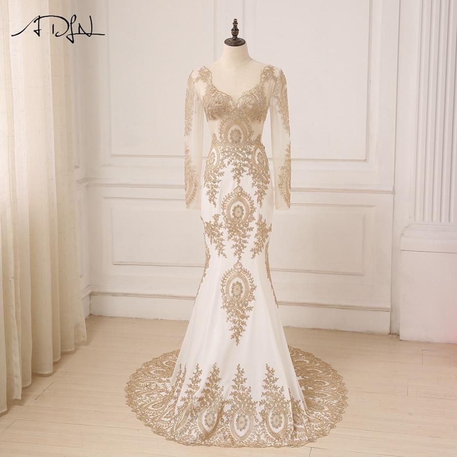 ADLN Elegant Gold Applique Long Sleeves Arabic Evening Dresses Sweep Train V neck Mermaid Party Evening
