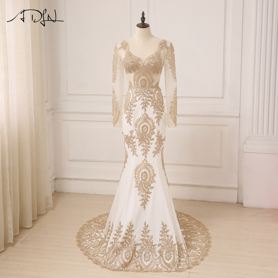 ADLN Elegant Gold Applique Long Sleeves Arabic   Evening     Dresses   Sweep Train V-neck Mermaid Party   Evening   Gowns Robes De Soiree