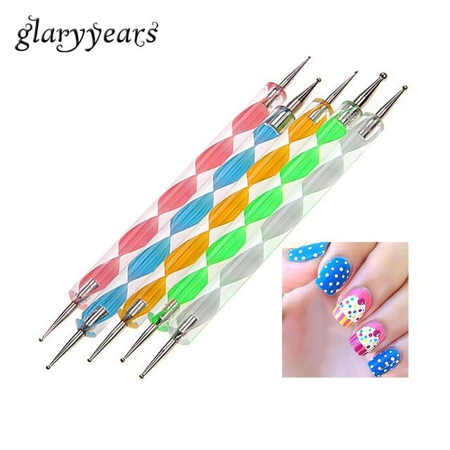 5 Piecesset Nail Art Dotting Pens Painting Tool 2 Way Dot Flower