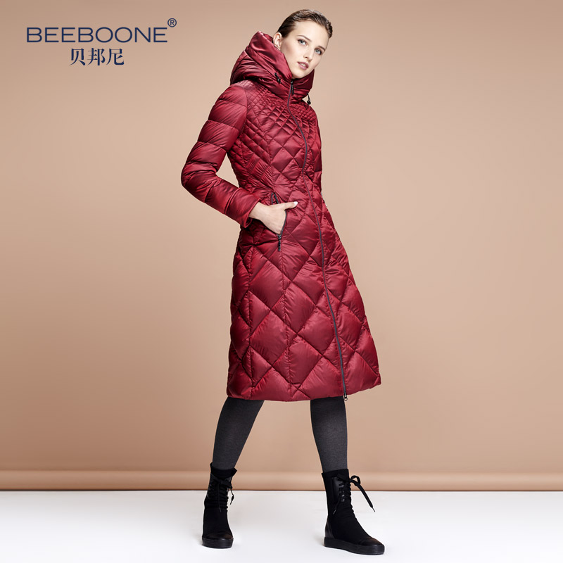 Beeboone autumn and winter slim with a hood over-the-knee design long   down     coat   female lengthen thickening thermal   down     coat