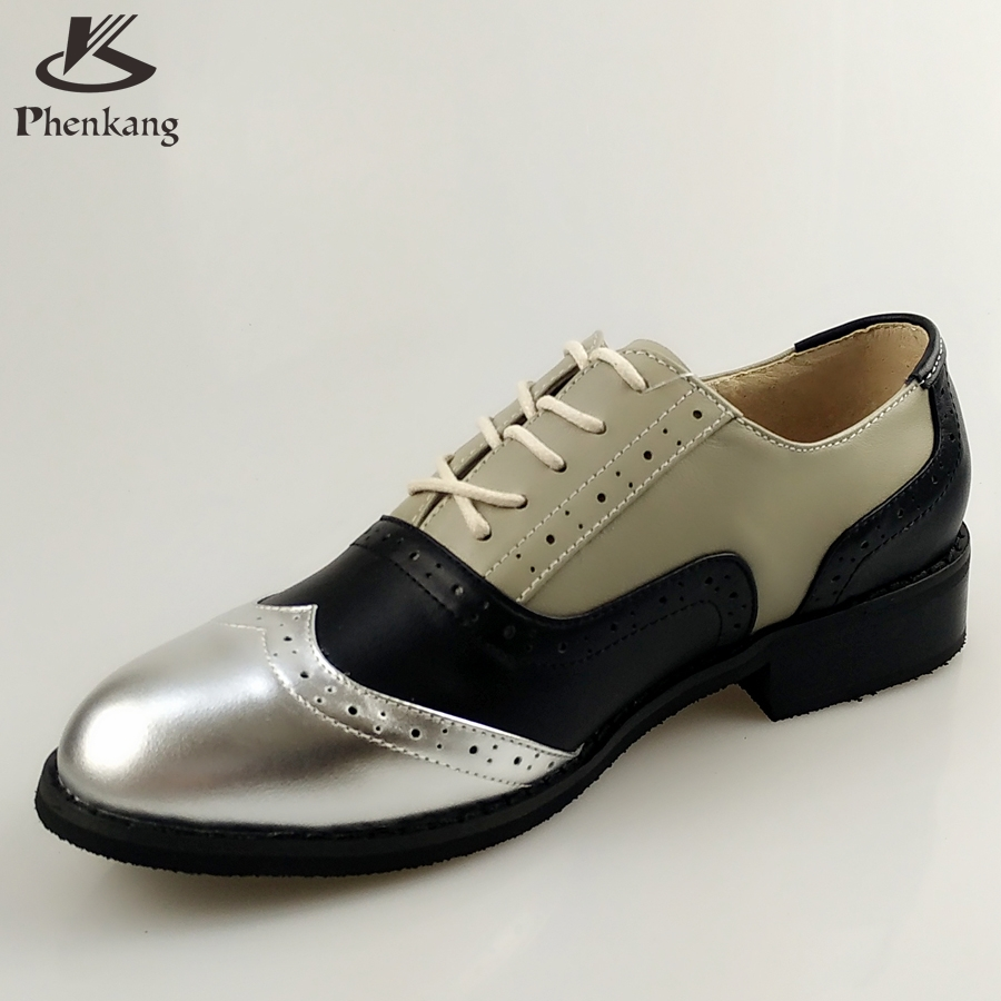 ФОТО Genuine leather big woman US size 11 designer vintage flat shoes round toe handmade silver black grey oxford shoes for women fur
