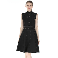 Crochet Turtleneck Dress 2018 Women Summer Dresses Lolita Style Sleeveless Female Clothing Vestidos S M L