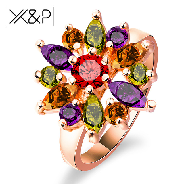 X&P Fashion Brand Rose Gold Silver Finger Rings for Women Girl with AAA Multicol