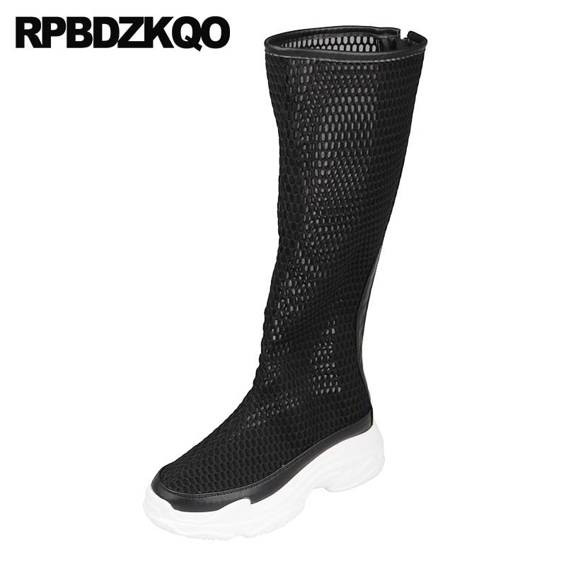 Harajuku 2018 Knee High Shoes Designer Spring White Flatform Women Boots Platform Wedge Sandals Summer Black Sneakers Mesh