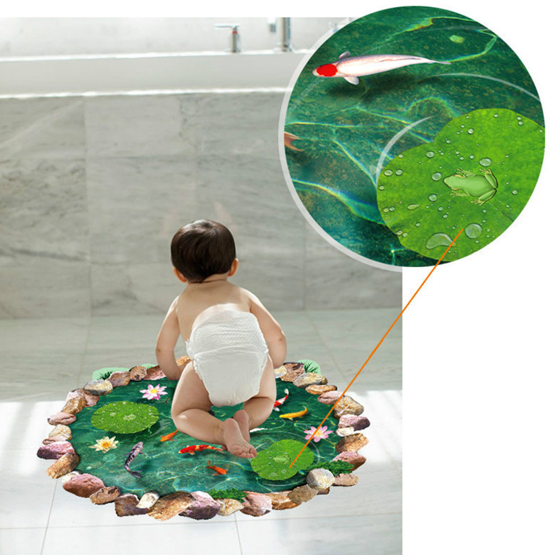 Neue 3d Lotus Teich Boden Aufkleber Fur Bad Zimmer Tattoo Landschaft