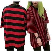 Men Women Black Red Striped T Shirts Lovers t shirt Summer 2017 Half Sleeve t-shirt for Couple Clothes Hip Hop Tops