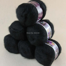 Sale Lot of 6 balls x 50g LACE MOHAIR Cashmere silk hand Yarn Knitting black 21