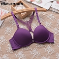 V type Front buckle hanging neck cross landscaping back no trace Bra Seamless Sexy Lingerie soft brim small bras Thickness 1 CM