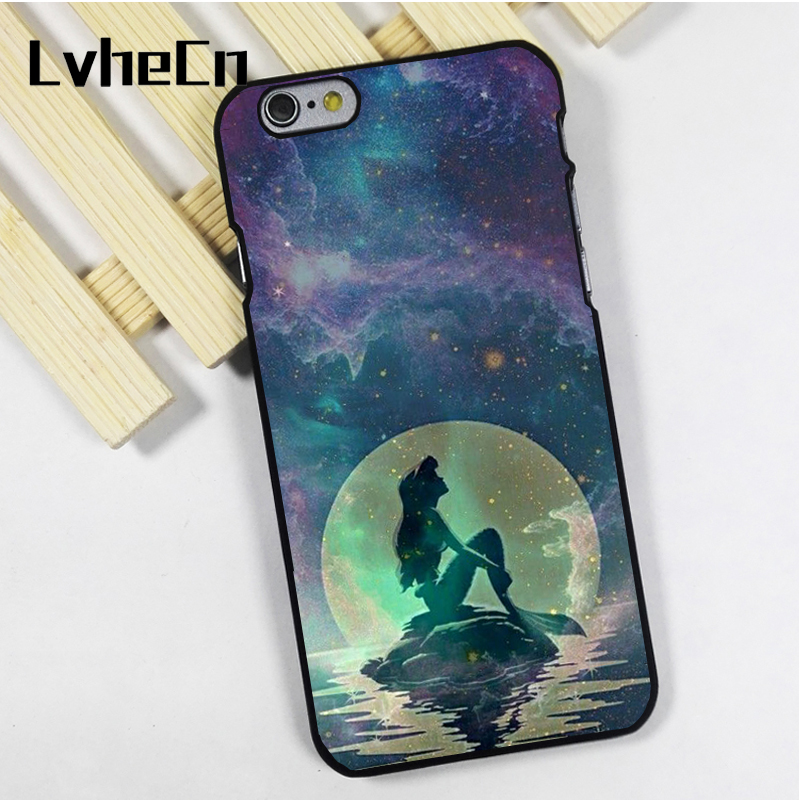 LvheCn phone case cover fit for iPhone 4 4s 5 5s 5c SE 6 6s 7 8 plus X ipod touch 4 5 6 back skins ARIEL MERMAID GALAXYS