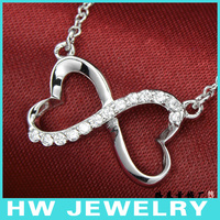 Double Heart Infinity Necklace Sterling Silver 925 Necklace Charm Necklace Hotsale Design