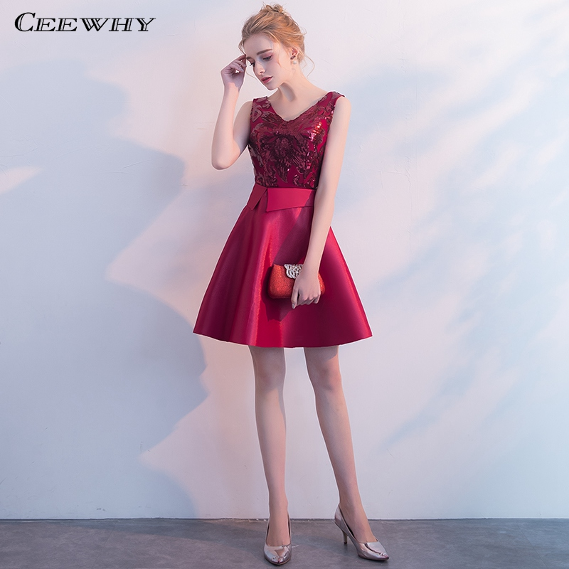 CEEWHY V-Neck Special Occasion Formal   Dress   Sequin Prom   Dresses   Short   Cocktail     Dresses   Vestidos Coctel 2019 Abiye Gece Elbisesi