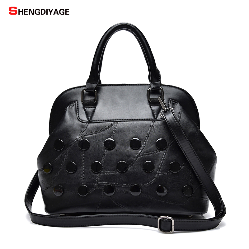 SHENGDIYAGE Casual Tote Genuine Leather sheepskin Women Bags Handbags women Famous Brands Fashion Shoulder Bag Female Ladies sac luxury famous brand women female ladies casual bags leather hello kitty handbags shoulder tote bag bolsas femininas couro